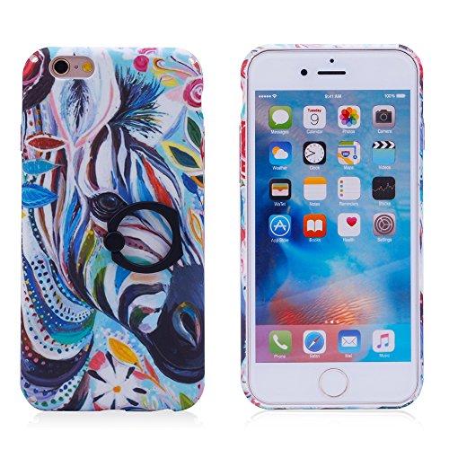 """iProtect Hardcase mit Ring Halter Marmor Design Schutzhülle in Schwarz mit Fingerhalterung für Apple iPhone 6 6s (4,7"""") Zebra"""
