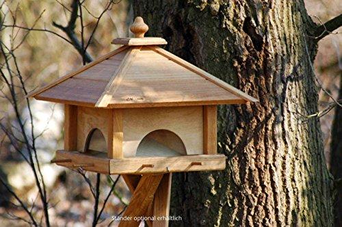 Luxus-Vogelhaus 46700e Großes XXL Vogelhaus aus Holz (Eiche) mit 4 herausziehbaren Futterspender-Schubladen, für Garten, Balkon – XL Vogelhäuschen Vogelfutterhaus - 3