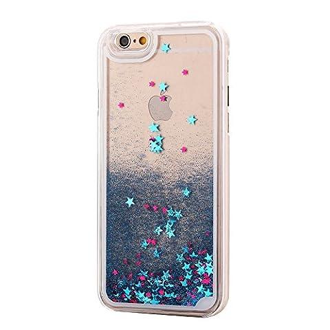 iPhone 6S & 6 Design Glitzer-Handyhülle mit Glitzerflüssigkeit | 3D-Schneekugel-Effekt mit bunten Sternen | Handytasche | Handy-etui | TPU-Bumper | hochwertiges Hard Case | Cover für den optimalen Schutz ihres iPhones von SphinxGear (blau)