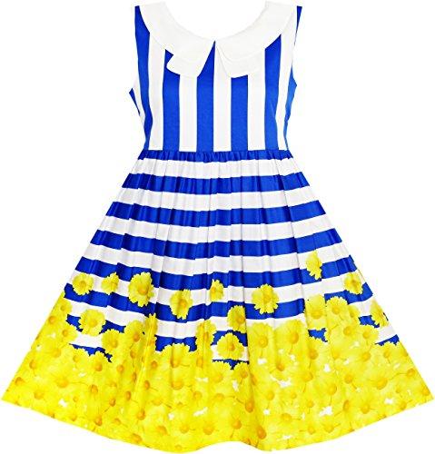 Mädchen Kleid Marine Blau Gestreift Kragen Schule Uniform Gr.134 (Dress Marine-uniform)