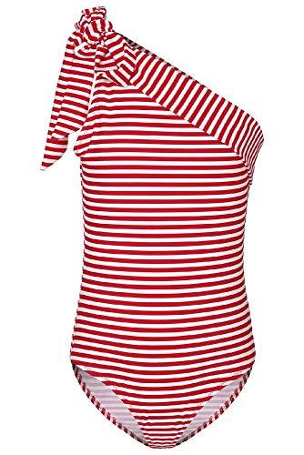 La-V Mädchen Badeanzug Gestreift Rot-Weiß/Größe 140/146