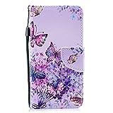 Hülle Xiaomi Redmi 4X Handytasche Handyhülle Flip Case Cover Schutzhülle Retro Ledertasche Lederhülle Bookstyle Klapphülle Etui Kartenfächer,Schmetterling Lila Blumen
