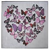 Pink Metallic Butterfly Love Butterflies Canvas Wall Art Picture 57 cm x 57 cm