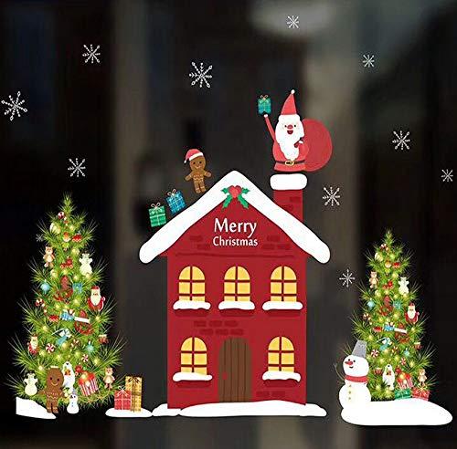 Decorazione natalizia ghirlande calze vetrofanie merry christmas pvc rimovibile wall sticker per casa natale decalcomanie 42x60cm