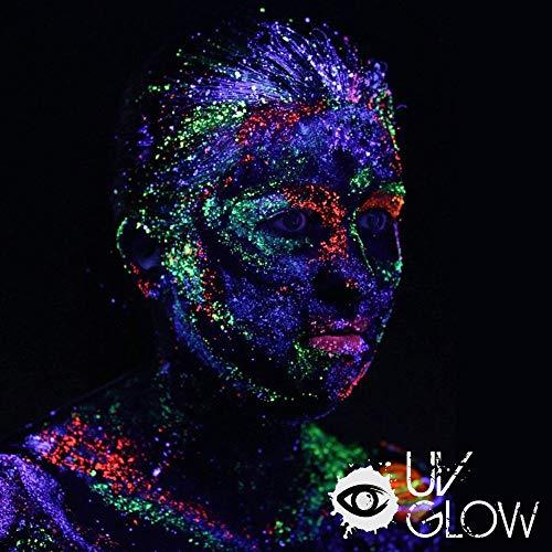 8 x 50ml UV-Bodypaint Körpermalfarben Schwarzlicht fluoreszierende Schminke Bodypainting Neon Farben Leuchtfarben