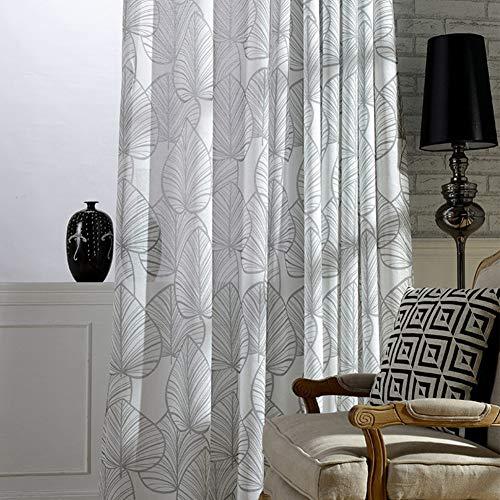 , modernes Schlichtes Blätter-Muster, Bedruckt, transparent, für Wohnzimmer, Schlafzimmer, Esszimmer (1 Panel, B 127 x L 243 cm, Grau) ()