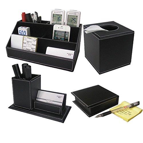 KINGFOM 4pcs Leder büro Schreibtisch Set -- Inklusive Schreibtisch Organisator, Kosmetiktücherbox, Stifthalter mit Visitenkartenhalter und Zettelbox (T42-4-Schwarz) -