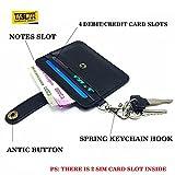 Taslar(TM) Slim Leather Men's & Women Wallet Thin Minimalist Pocket Money Wallets Credit / Debit Card Holder With Key Chain Holder & Sim Card Slots - Black
