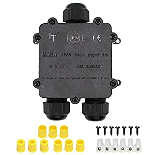 IP68 Waterproof Junction Box, HUYU 3-Way Outdoor Cable Connectors with 3 Cable M25 Gland Wire Connector Electrical Junction Box for 4-14MM Diameter Cable, 6 Pin Terminal, Black