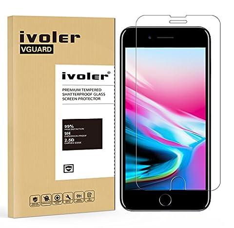 iPhone 8 Plus / 7 Plus Protection écran, iVoler® Film Protection d'écran en Verre Trempé Glass Screen Protector Vitre Tempered pour Apple iPhone 8 Plus / 7 Plus 5.5 pouces - Dureté 9H, Ultra-mince 0.20 mm, 2.5D Bords Arrondis- Anti-rayure, Anti-traces de doigts,Haute-réponse, Haute transparence- Garantie de Remplacement de 18 Mois
