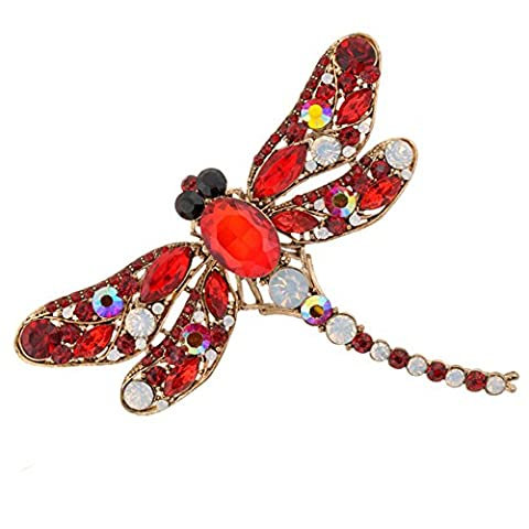 Sanwood Women's Dragonfly Crystal Brooch Rhinestone Pin Jewelry (Red)