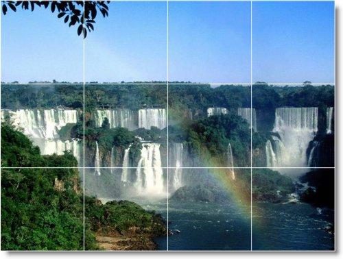 CASCADAS FOTO TILE MURAL W065  12 75X 43 18CM CON (12) 4 25X 4 25AZULEJOS DE CERAMICA
