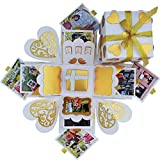 #7: DecuT Explosion Box 3 Layered Handmade Explosion Box for Love Romantic Gift Unique Scrapbook DIY Sweet Memories Photo Album (Off White and Gold)
