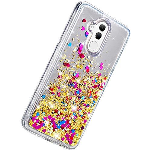 Herbests Kompatibel mit Huawei P20 Lite Hülle Glitzer Flüssig Treibsand Handyhülle Liebe Herz Fließend Flüssigkeit Luxus Strass Diamant Bling Silikon Schutzhülle Spiegel Hülle,Gold