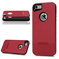 iPhone 5 Case, iPhone 5S Case, iPhone SE Case MAXFE.CO 2 in 1 Hybrid Case Hard PC Black Holder + Soft TPU Gel Frame Case Cover Shock-Absorption Full Body Case for iPhone 5/ 5S/ SE - Red