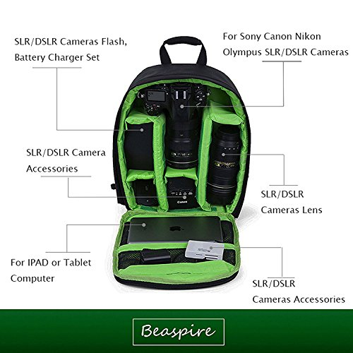 Mini Kamera Rucksack dslr Wanderkamera Tasche wasserdicht für Kanon, Nikon, Sony, Olympus, Samsung, Panasonic, Pentax Kameras,Grün (Kamera-tasche Mini Samsung Nx)