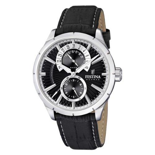 Festina Herren-Armbanduhr XL Klassik Multifunktion Analog Quarz Leder F16573/3 (Herren-uhr Festina)
