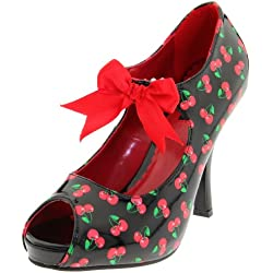 Pinup Couture - zapatos de tacón mujer, Blk-Red Pat (Cherries Print), 40