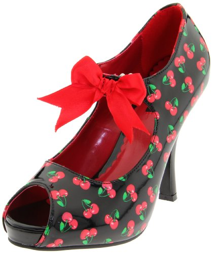Pinup Couture - zapatos de tacón mujer, Blk-Red Pat (Cherries...