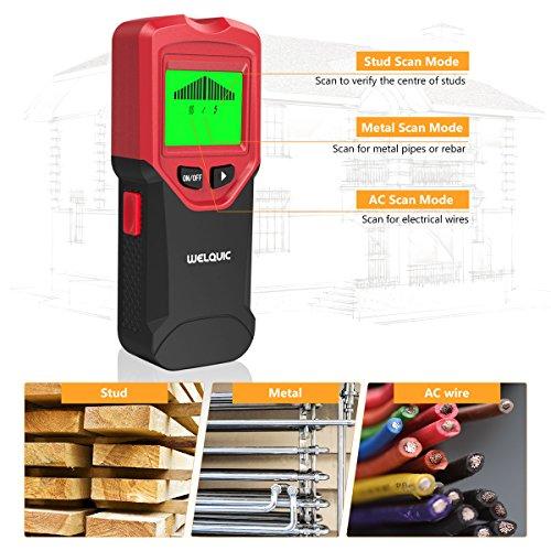 WELQUIC Detector de Pared Multifuncional 3- en- 1 Stud Finder con Calibración Automática,  Pantalla LCD Retroiluminada,  Indicadores de Advertencia para Pernos de Pared, Madera y Metal,  Negro y Rojo