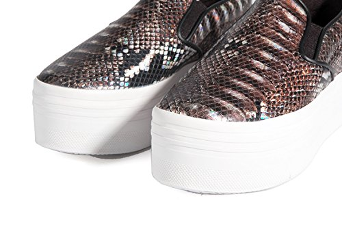 Jeffrey Campbell Play-Slip on Snake Platform Grey-Sneaker-haute semelle Mocassins Imprimé Serpent GRIS Gris - Gris