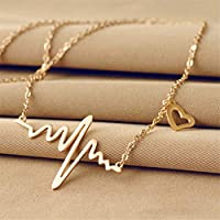 EJY Stainless Steel Stethoscope Heartbeat Necklace Women Love Heart Necklaces & Pendants Medical Nurse Doctor Lover Gifts