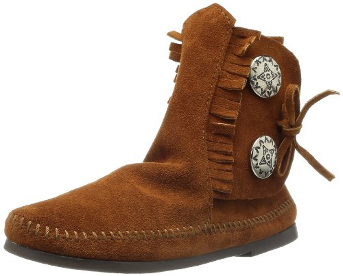 Minnetonka Two Button, Stivali Mocassini Donna Brown