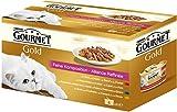 Gourmet Gold Katzenfutter Feine Komposition, Rind, Ente, Kaninchen, Hochseefisch, 48er Pack (48 x 85 g) Dos