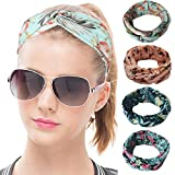 Bllatta Damen Stirnband Kopfband Stirnbänder Haarspange Haarband Headband elastische Blume gedruckt Sportliche 4Pcs