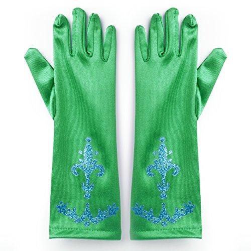 Kostüme Halloween Billige Amazon (Katara 1098 - Prinzessin Elsa grüne Handschuhe für Party-Fieber Kleid / Mädchen-Kostüm Karneval Verkleidung)