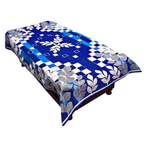 Kuber Industries™ Center Table Cover Royal Blue Cotton Fabric in Floral Design...