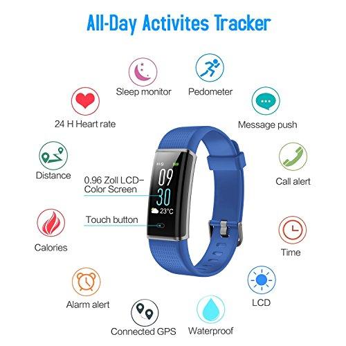 f5aa9f0e1 Pulsera Actividad Impermeable IP68, HETP Reloj Deportivo Inteligente  Fitness Tracker Natación Actividad Pantalla a color Monitor de Frecuencia  Cardiáco ...