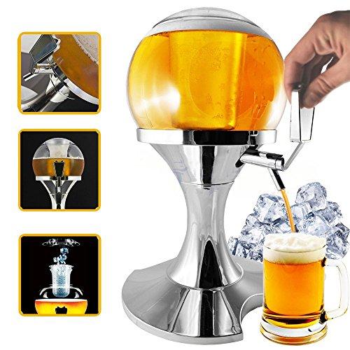 spillatore cerveza esférica con compartimento Hielo de 3.5L, Infusión Cerveza y otras bebidas, mantiene los líquidos Freschi, dispensador y enfriador de bebidas y cerveza