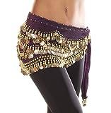 Turkish Emporium Toalla de cadera danza del vientre cadera Cinturón terciopelo toalla monedas Cinturón 10colores Lila/Gold Talla única