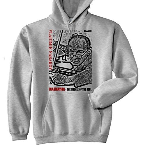 Teesquare1st Men's VLADIMIR NABAKOV IMAGINATION QUOTE New Grey Cotton Hoodie Size Medium