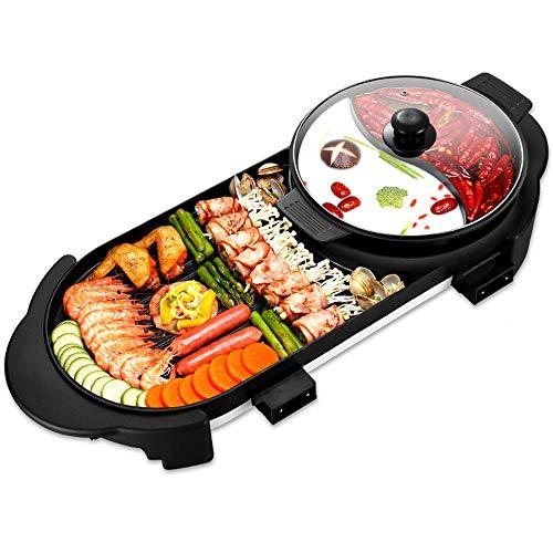 YZPDSKJ Elektrogrill Indoor Hot Pot Multifunktionaler Teppanyaki-Grill/Shabu Shabu-Topf mit Teiler - Separater Doppeltemperaturregler, Kapazität für 8 Personen, 220 V - Dampfer Gemüse Nudeln Und