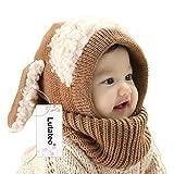 Unisex Baby Mütze, Strickmütze Warm Wintermütze, Earflap Hut Kappe Schnee Hut, Schlupfmütze Schalmütze Hündchen (Khaki)