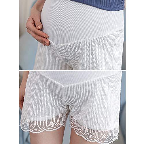WNuanjun, Sicherheit Mutterschaft Sommer Tragen Shorts Für Schwangerschaft Spitze Kurze Hosen Für Schwangere Bauch Unterstützung Hosen Casual Bottom Pants Schwarz Weiß (Color : Weiß, Size : M) Pant Bottoms Casual Pants