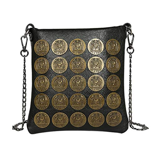 Mitlfuny handbemalte Ledertasche, Schultertasche, Geschenk, Handgefertigte Tasche,Unisex Fashion Metallic Dot Umhängetasche Leder Kette Umhängetasche Griff Taschen