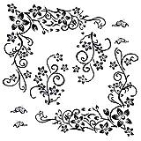 2 pezzi Adesivi da Parete Muro Murali Adesivo Decorativo Decorazione fai da te per Casa Camera da Letto Soggiorno Fiori Farfalla Nero (totale 4 fogli)