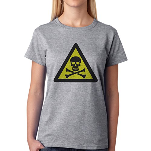 Danger Sign Warning Caution Skull Damen T-Shirt Grau