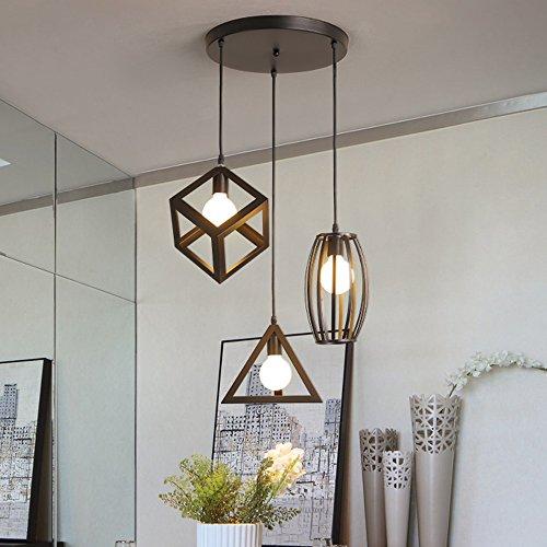 STOEX Suspension Luminaire Vintage Cage Métal, Lustre Industriel 3 Lampes E27 Corde Ajustable pour Salon Cuisine Chambre