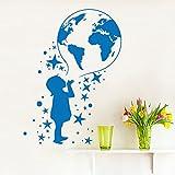 yaoxingfu Tatuajes de Pared Mapa del Mundo Pegatinas de Pared para Habitaciones de niños Carteles de Vinilo removible Arte de la Pared Pegatinas Muraux Vinilos Infantiles S57x77cm