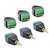 oiyagai 6pcs 3,5mm (1/8) Stereo-TRS-Klinke auf AV für Terminal Block Balun Stecker 6-Pack TRS Male