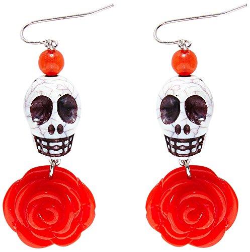 Widmann SLR NEU Ohrringe mit weißem Totenkopf und roter Rose