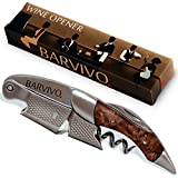 Professional Waiters Corkscrew by Barvivo - This Bottle Opener for Beer and Wine Bottles is Used by Waiters, Sommelier and Bartenders Around the World. Made of Stainless Steel and Bin Ying Wood.