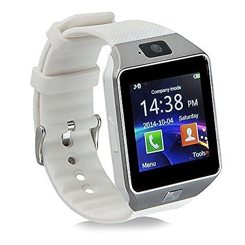 Montre Connectée SIM Carte Écran Tactile avec Appel Bluetooth Caméra Podomètre Tracker d'Activité pour Android Smartphone Samsung SONY LG et iOS iPhone (Blanc)