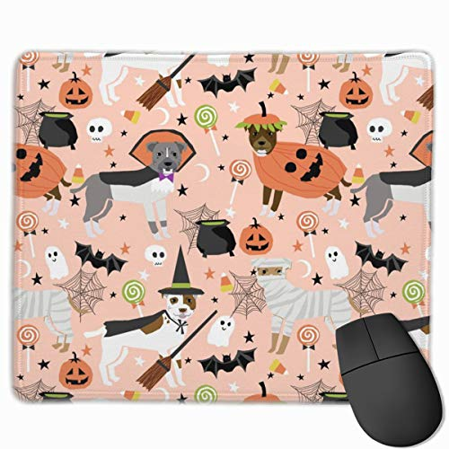 Pitbull Halloween Costume Dog - Cute Dogs In Costume Halloween Design Candy Corn, Candy, Funny Pet- Orange Mousepad 18x22 cm
