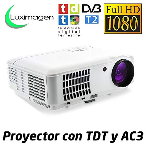 Luximagen HD520 WHITE - Proyector Barato Portátil LED (Full HD, 1920x1080, AC3, 2xHDMI, USB, para PS4, Xbox, Switch, Televisión TDT HD Integrado), Blanco