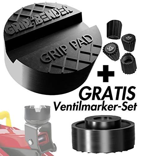 GRIP&BENDER Premium Wagenheber Gummiauflage - GRATIS Ventilmarker-Set - Universelle Gummiauflage für Hebebühnen und Rangierwagenheber - Universal-Auflage - Schützt Ihr Auto